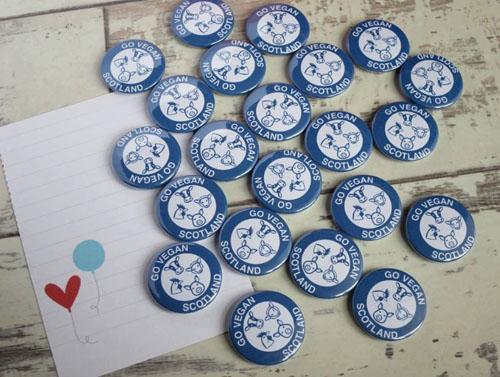 Go Vegan Scotland custom buttons
