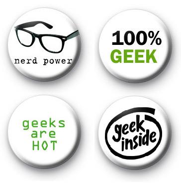 Set of 4 Super Geek Button Badges