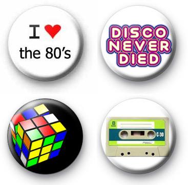 Set of 4 Retro 1980s Button Badges