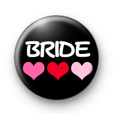 Three Hearts Bride Button Badges