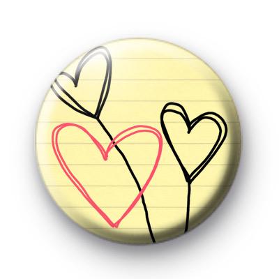3 Love Heart Scribbles Badges