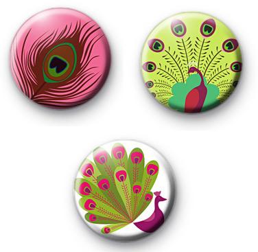 Set of 3 Peacock Bird Button Badges
