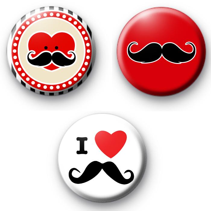 Set of 3 Movember Tash Badges