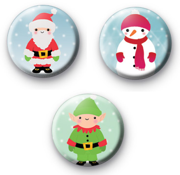 3 Christmas Characters Badge Pack
