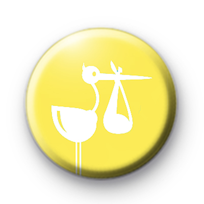 Yellow Stork Baby Shower Button Badges