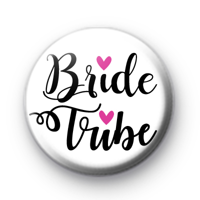 Black and White Bride Tribe Wedding Badge