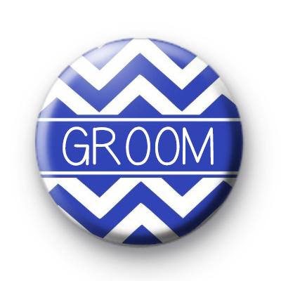Chevron Blue Groom Button Badge