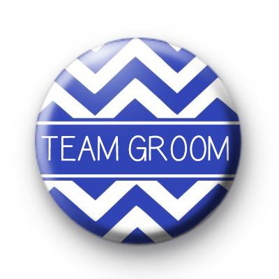 Chevron Blue Team Groom Button Badge