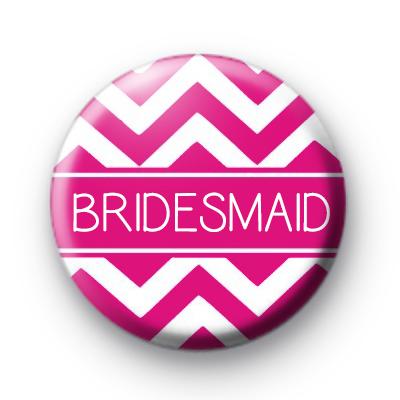 Chevron Pink Bridesmaid Badge