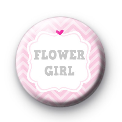 Cute Pink Flower Girl Wedding Badge