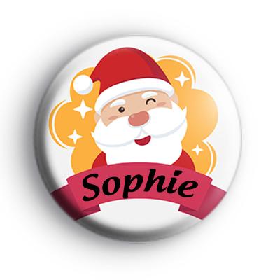 Custom Winking Santa Christmas Name Badge