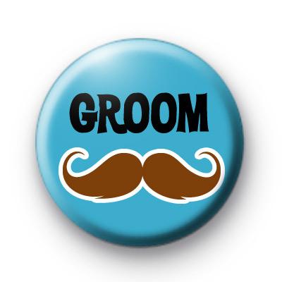 Cute Groom Moustache Button Badge