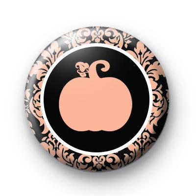 Damask Print Pumpkin Button Badge