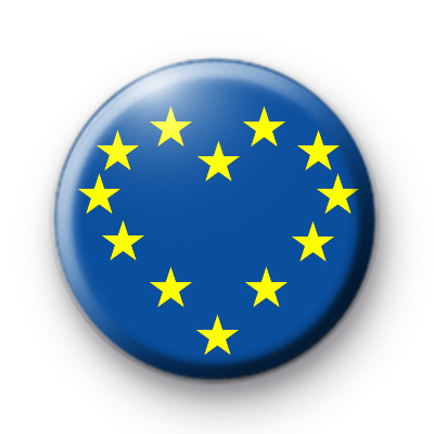 European Union Heart Flag Button Badge