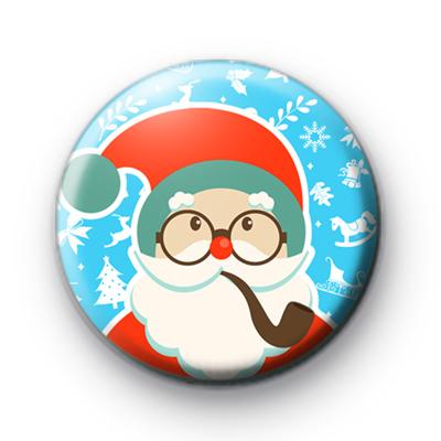 Blue Cute Festive Santa Claus Button Badge