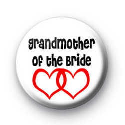 Red Love Hearts Grandmother of the Bride Badge