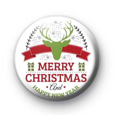 Festive Green Stag Merry Christmas Badge