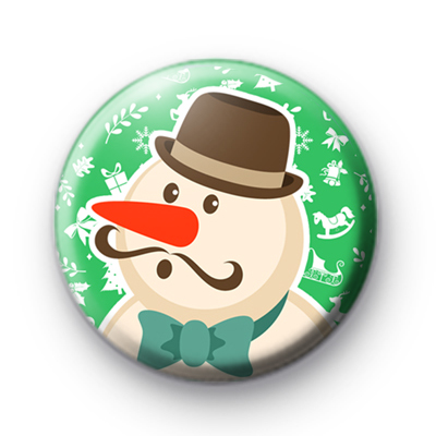 Handsome Festive Snowman Button Badge
