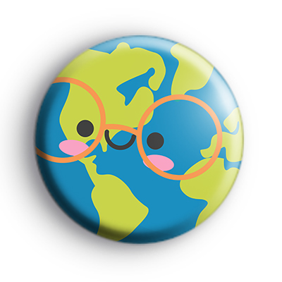 Happy Planet Earth Button Badge : Kool Badges