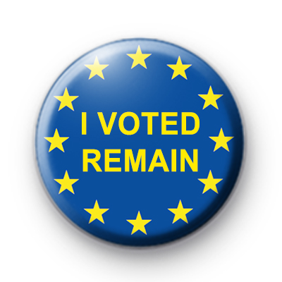 I Voted to Remain Button Badge
