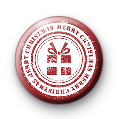 Red and White Merry Christmas Present Badge
