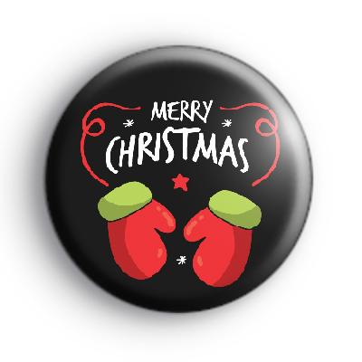 Black Merry Christmas Mittens Badge