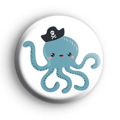 Pirate Captain Blue Octopus Badge