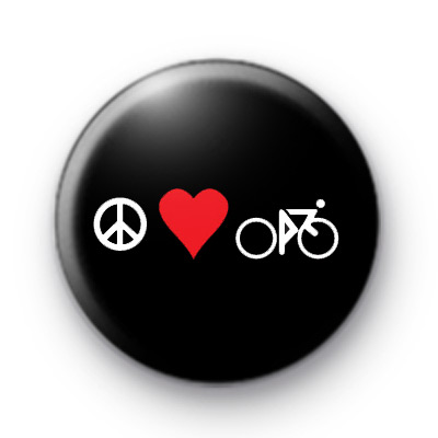 Peace Love Cycle Button Badges