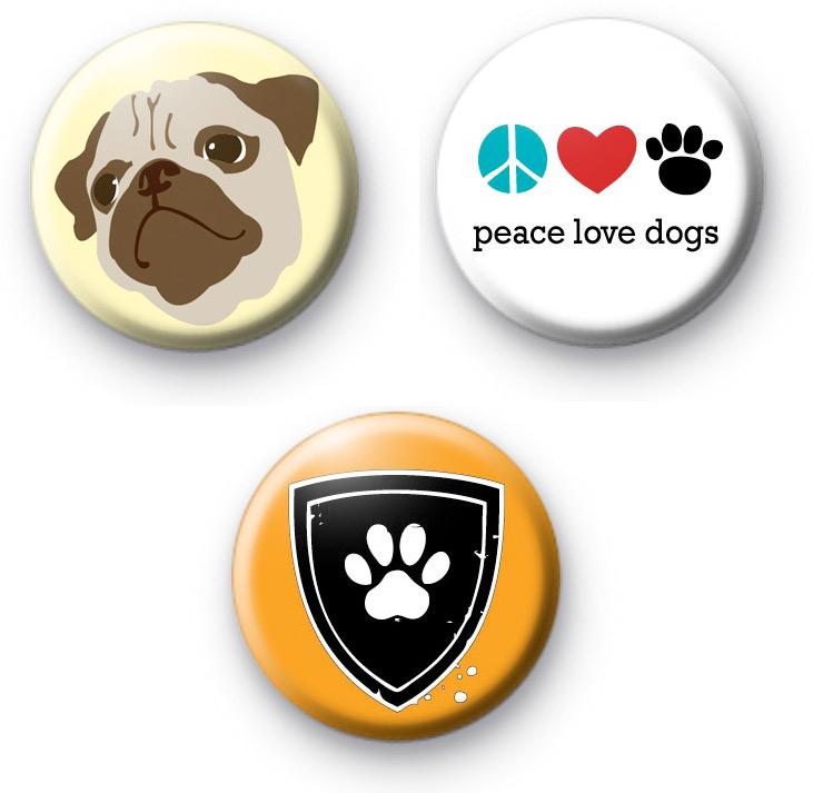 Set of 3 PUG Dog Badges