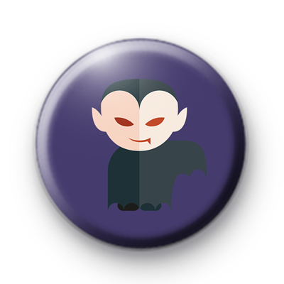 Purple Dracula Vampire Button Badge