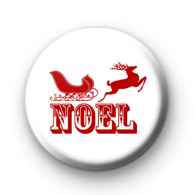 Red Festive Noel Button Badge