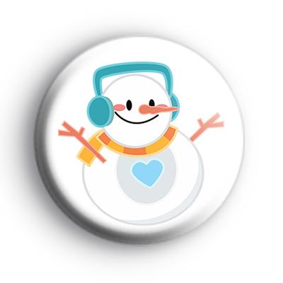 Round Snowman Christmas Badge