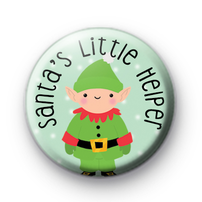 Santa's Little Helper Elf Button Badge