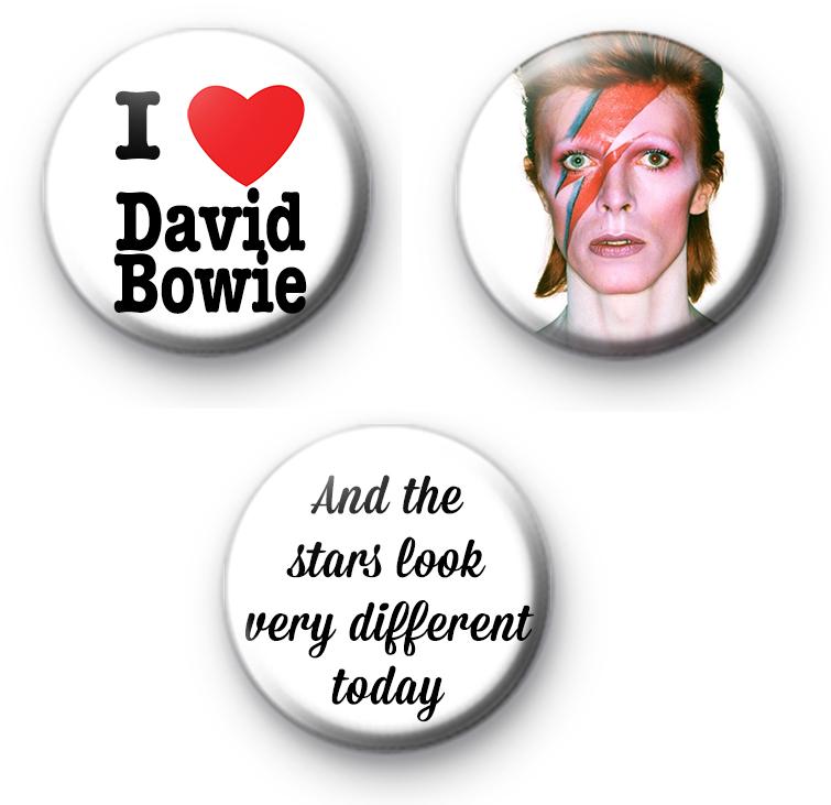 Set of 3 David Bowie Button Badges