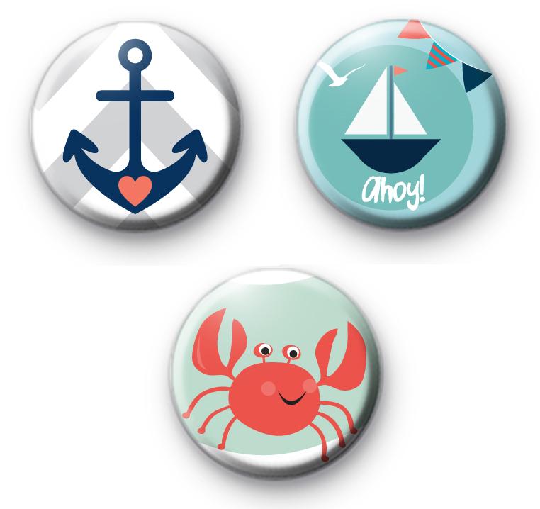 Set of 3 Seaside Nautical Themed Badges