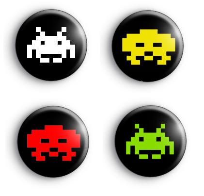 Set of 4 Space Invader Badges