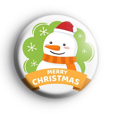 Classic Merry Christmas Snowman Badge