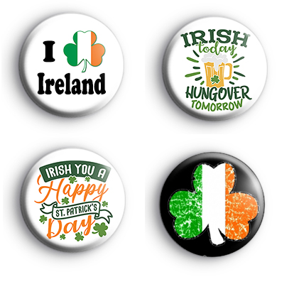 Set of 4 St Patrick's Day Badges