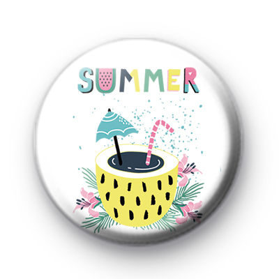 Summer Pineapple Drinks Pin Badge