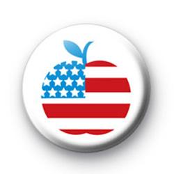 USA America Big Apple Flag Button Badge