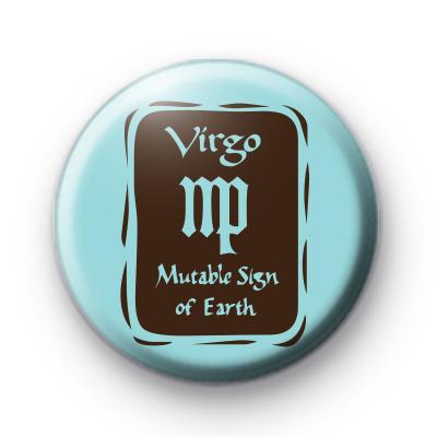Zodiac Symbol Virgo Button Badge