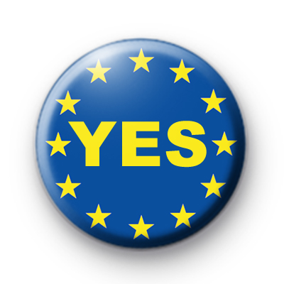 YES EU Vote Pin Badge