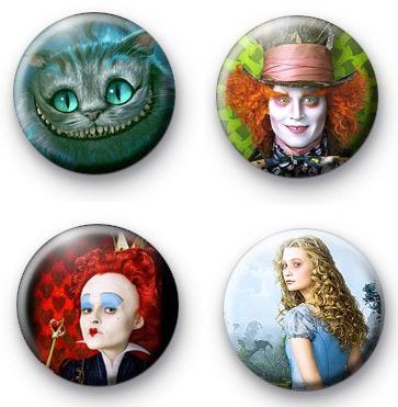 Set of 4 Alice in Wonderland Badges 2
