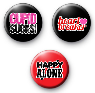 Set of 3 Anti Valentines Button Badges 2