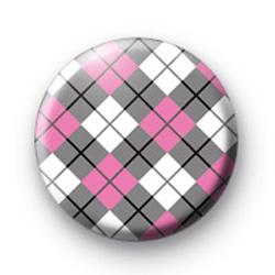 Pink and Grey Argyle Pattern Badge