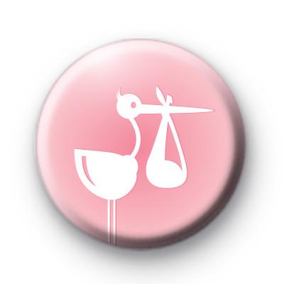 Baby Girl Pink Stork Badge
