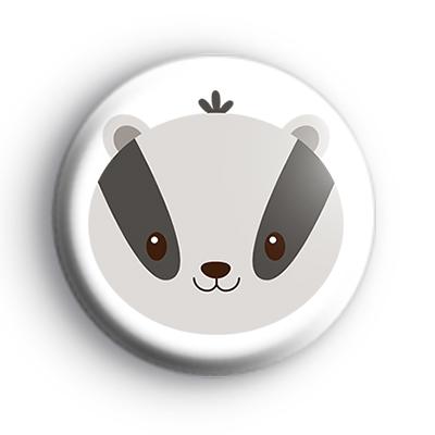 Badger Face Button Badge