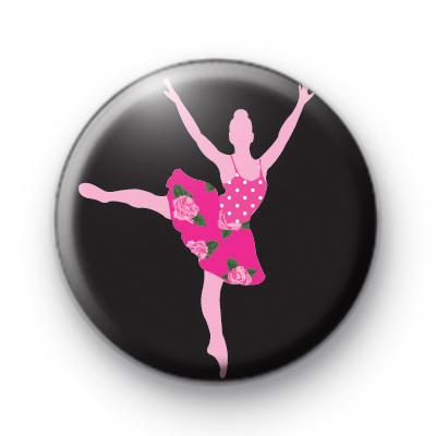 Floral Ballet Girl Pin Button Badge