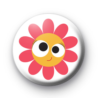 Beyond Cute Flower Smiley Face badge