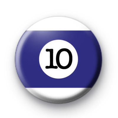 Billiard Ball Birthday Age Number 10 Badge